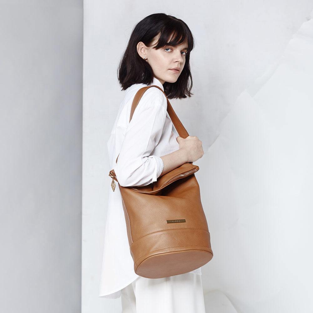 ethical luxury designer tote bag tan