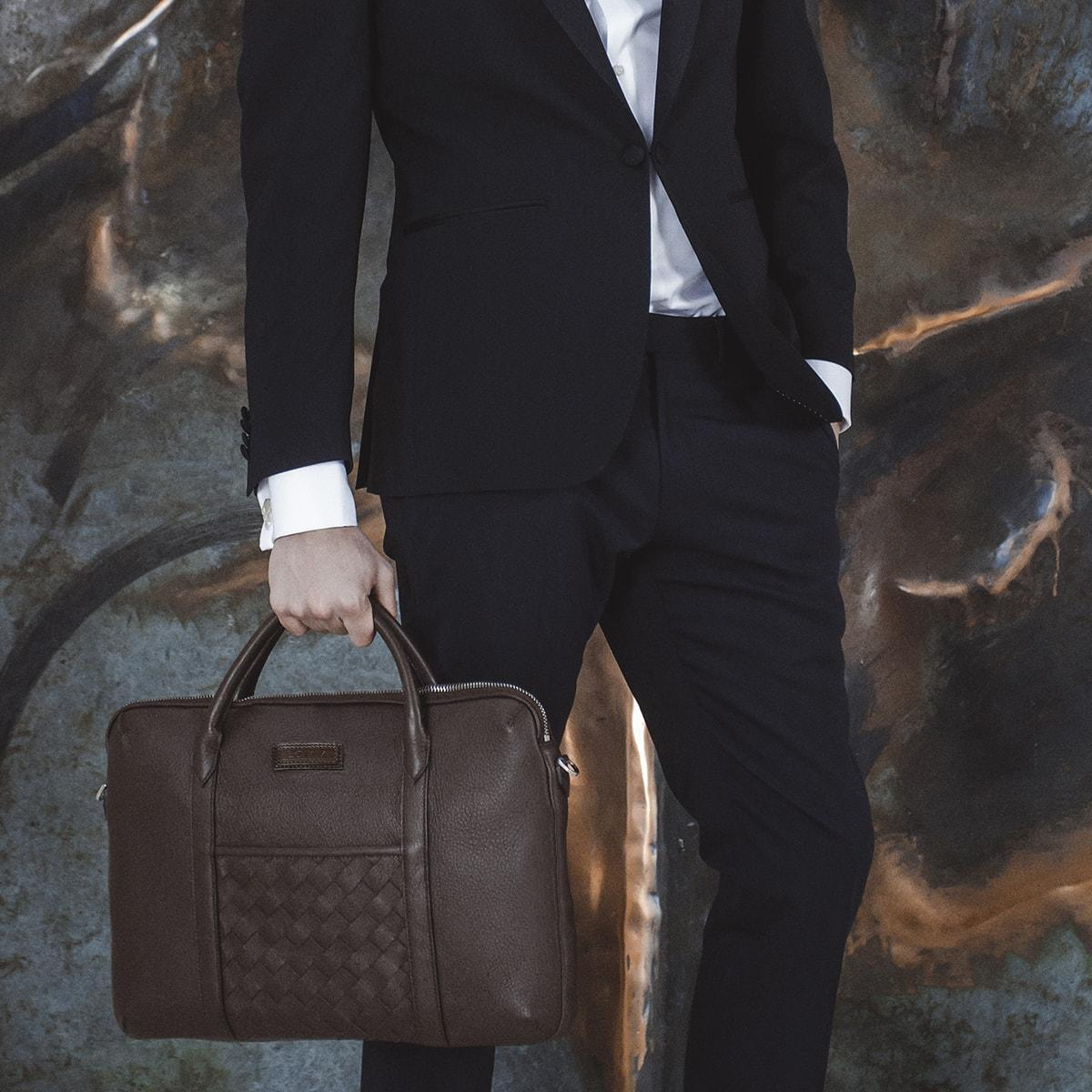 men's sustainable leather briefcase
