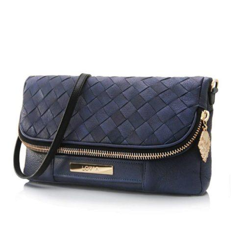 Deep blue sustainable crossbody with golden hardware