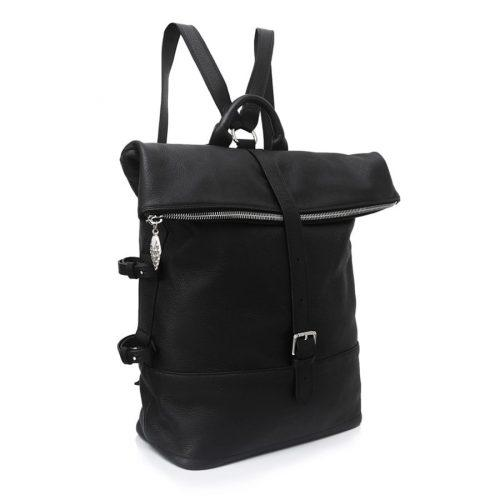 Men's black ethical luxury leather backpack with silver details
