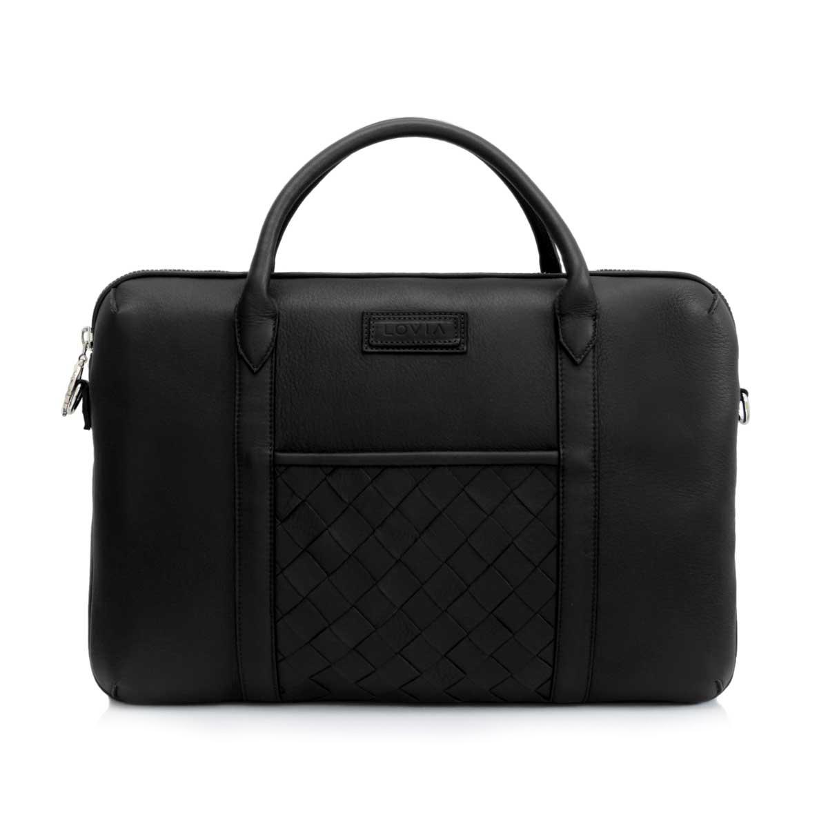 Black sustainable luxury briefcase for men front