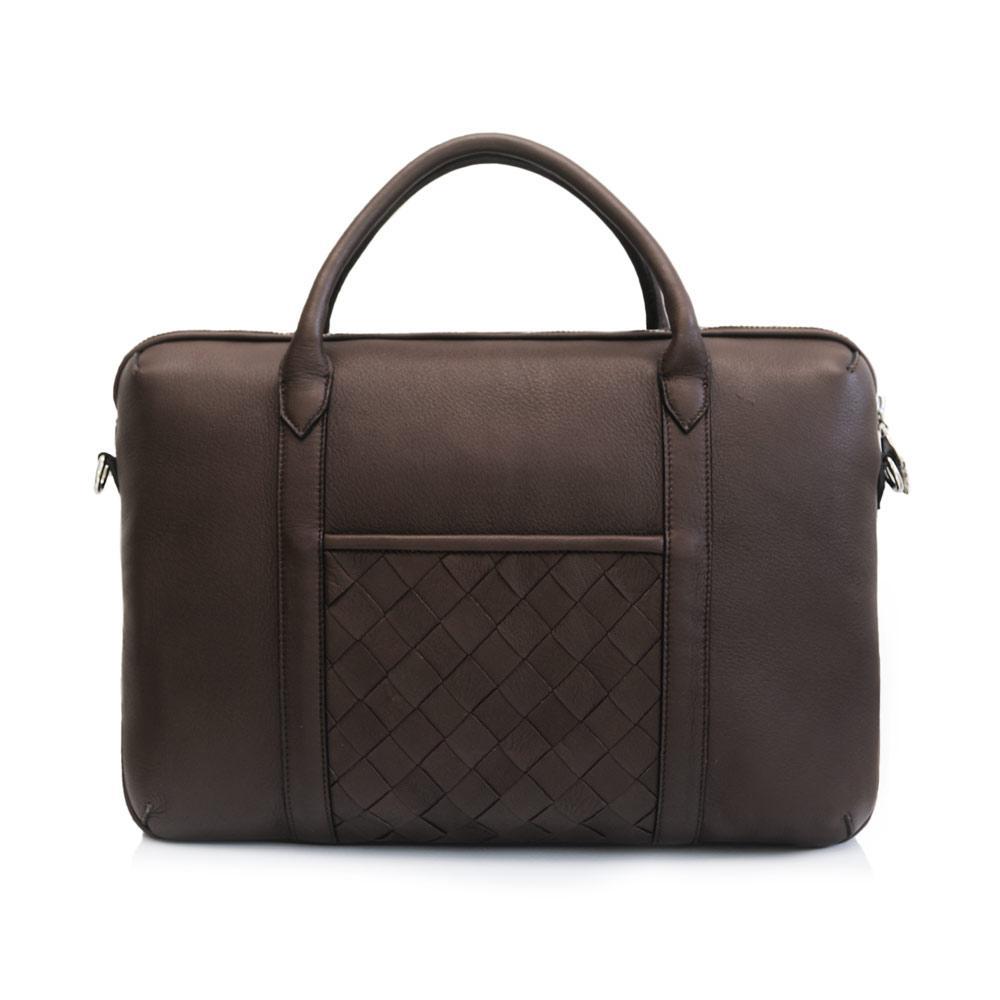 Brown elk leather briefcase back