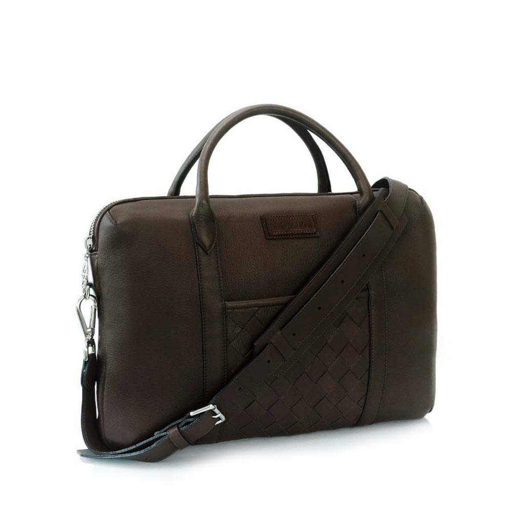 Brown sustainable luxury briefcase for men front