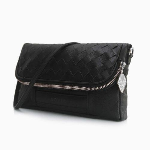 sustainable clutch small back in black and silver