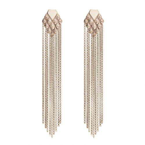 sustainable luxury statement earrings with fringes rose gold