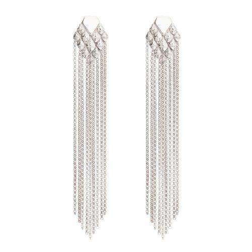 sustainable luxury statement earrings with fringes silver