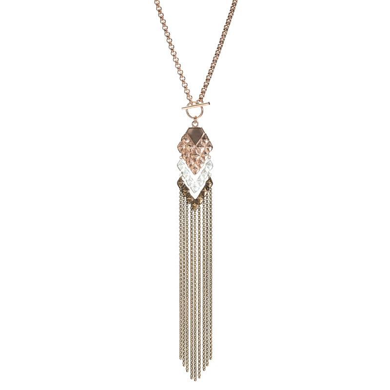 sustainable luxury statement necklace with fringes silver bronze