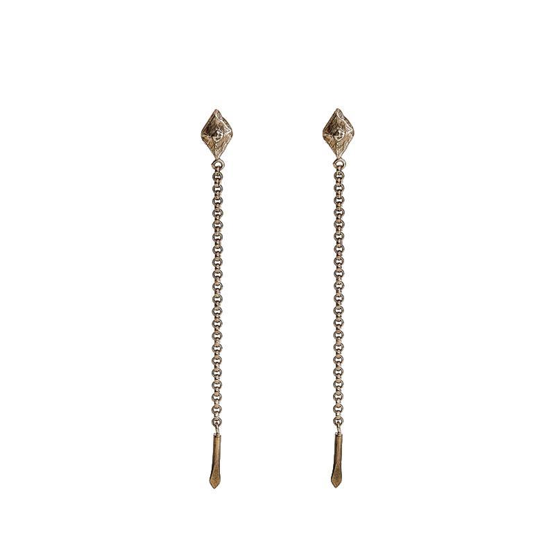 Sustainable jewellery hanging small bronze earrings
