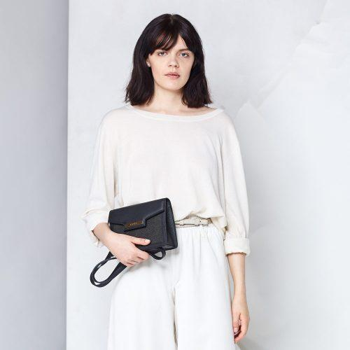 black ethical luxury crossbody bag with salmon panels