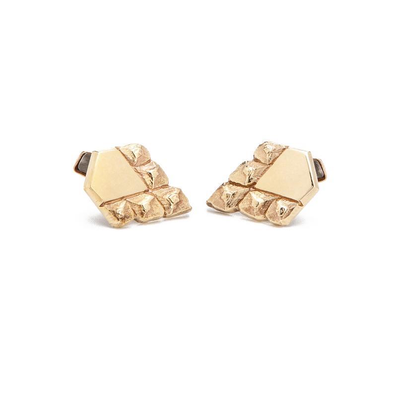 men's sustainable jewellery artisan made cufflinks gold