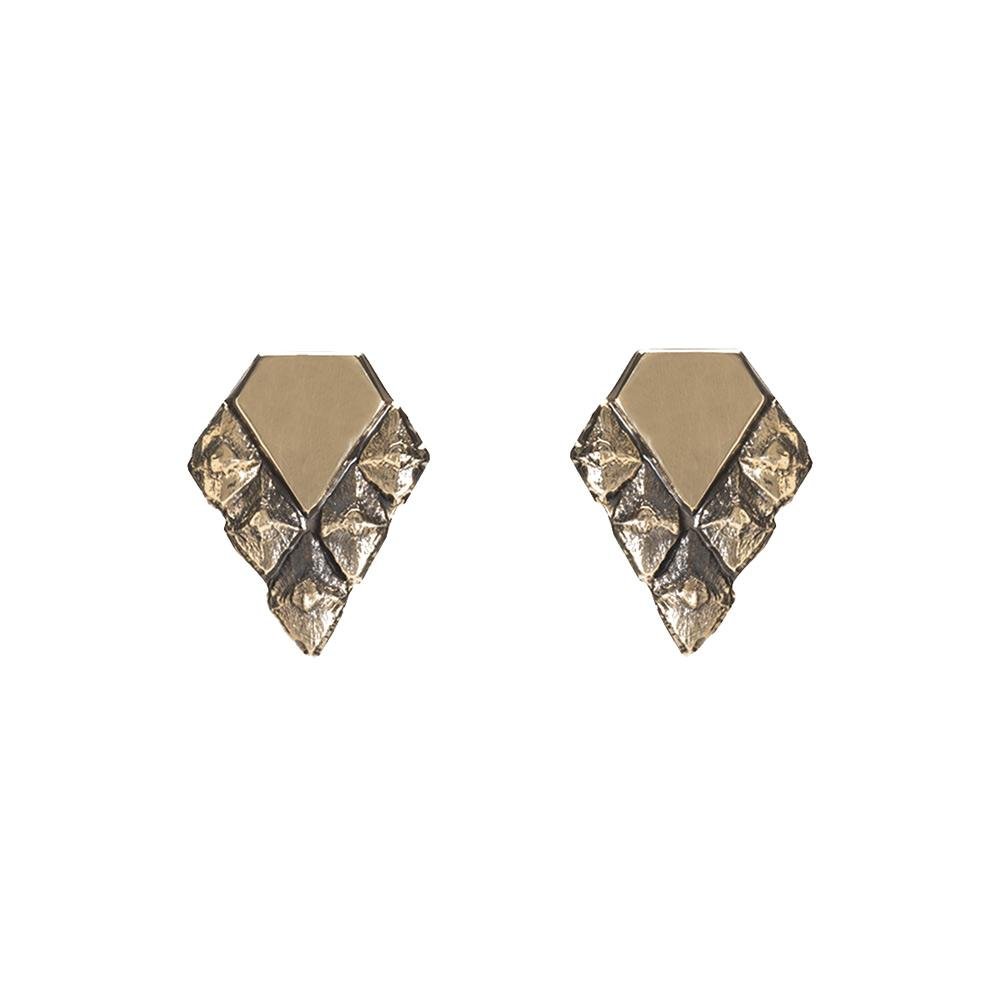 Sustainable design earrings bronze