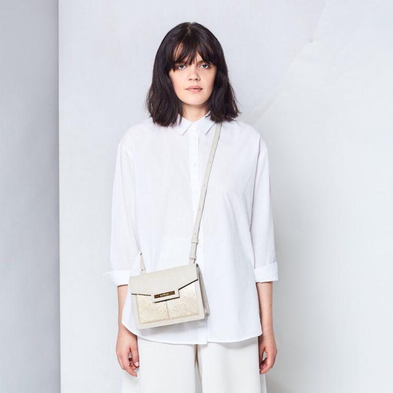 sustainable luxury ivory salmon leather structured crossbody bag