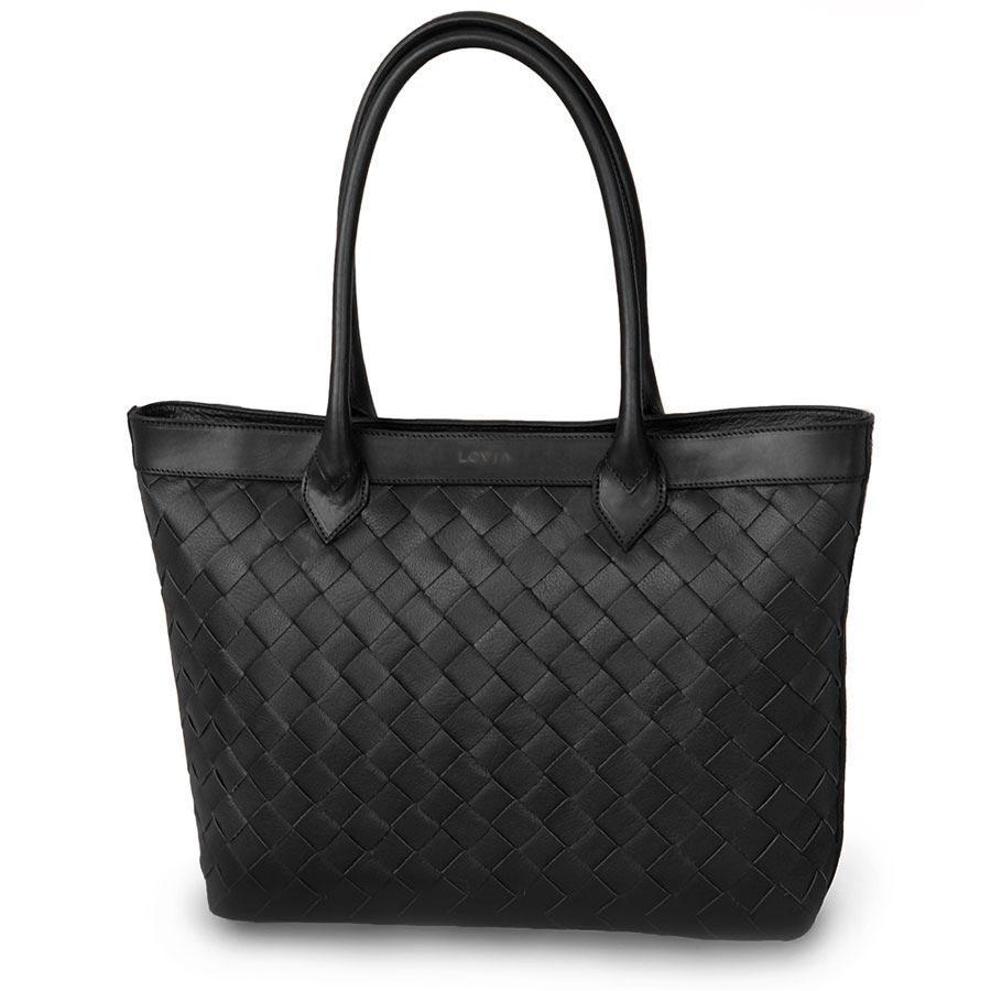 sustainable luxury minimal tote bag black