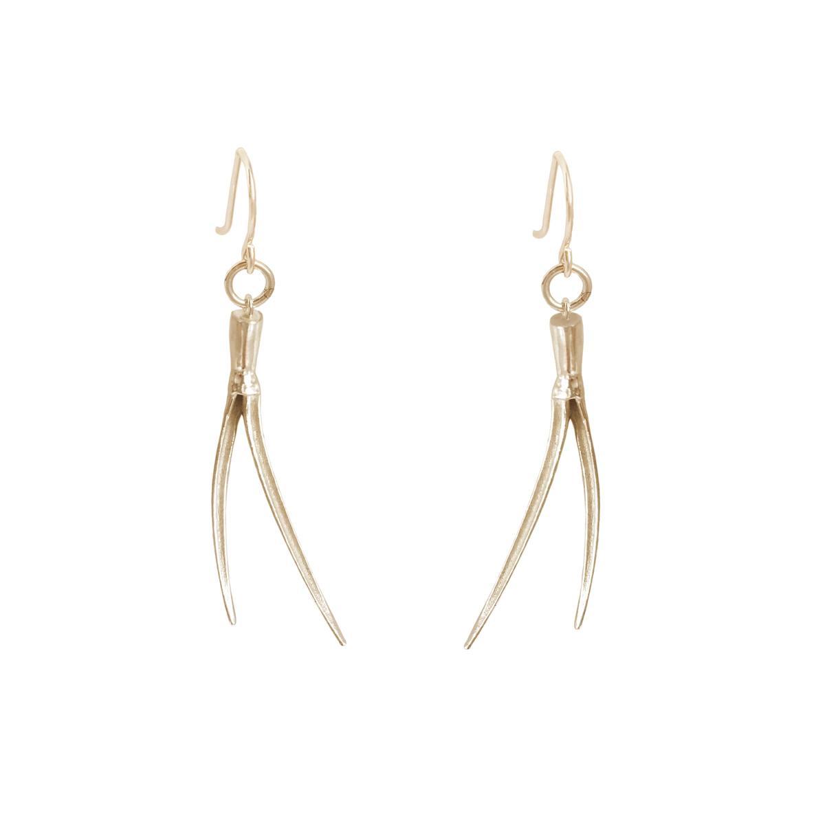 delicate sustainable spike hook earrings in bronze