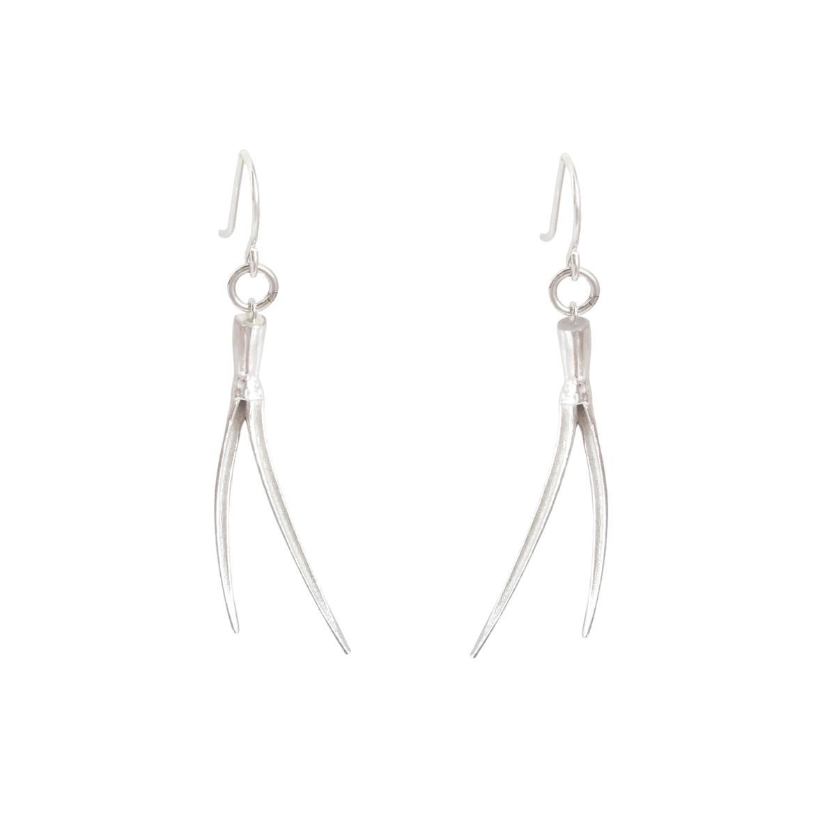 delicate sustainable spike hook earrings in sterling silver